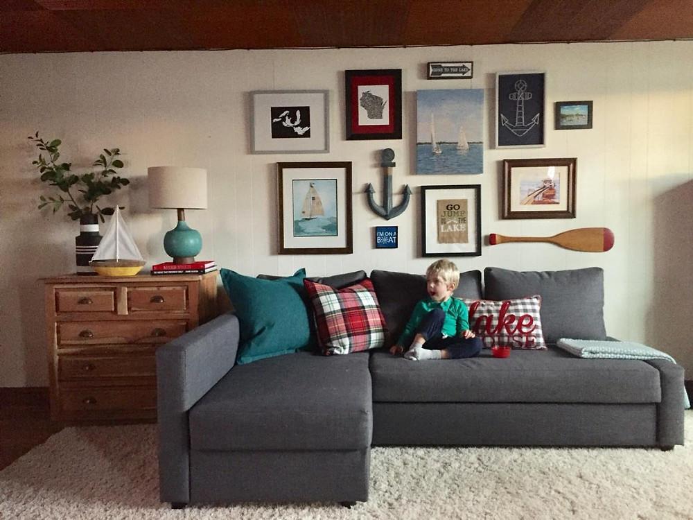 Gallery wall, Nautical gallery wall, IKEA sleeper sofa