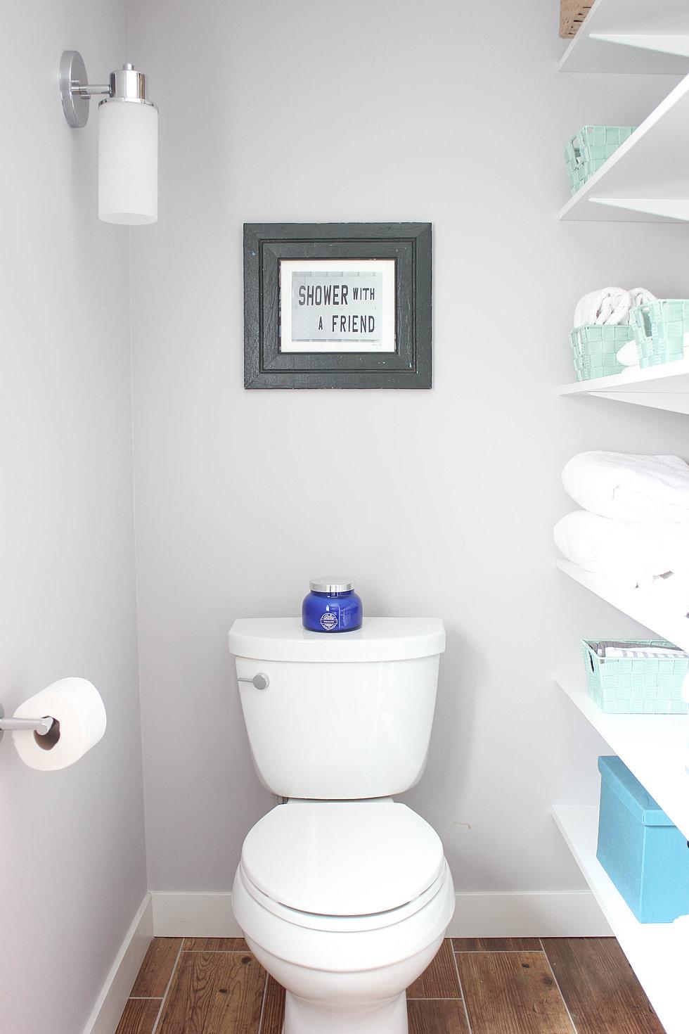 Modern cottage bathroom -  Basement Bathroom Remodel Storage