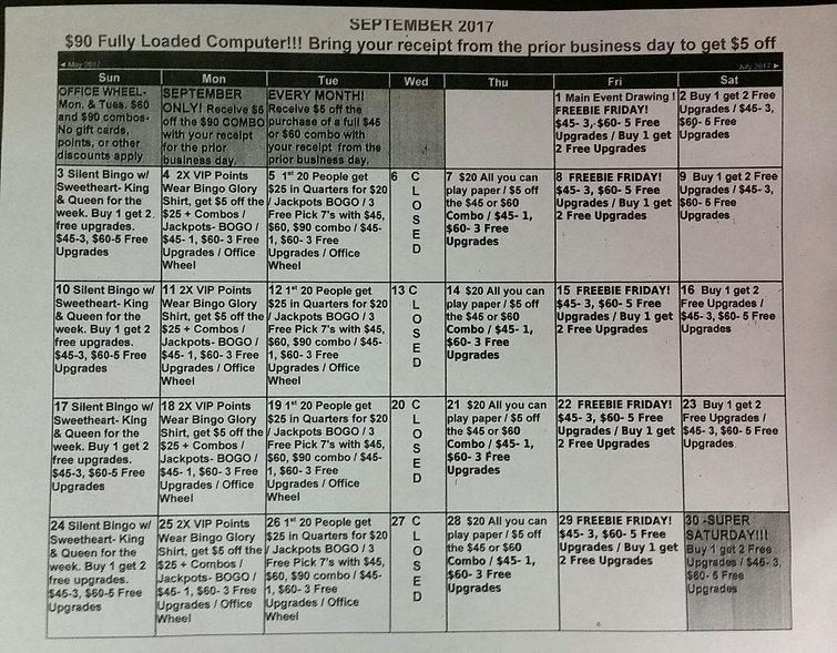 Bingo Glory Bingo in Daytona Calendar Septemeber