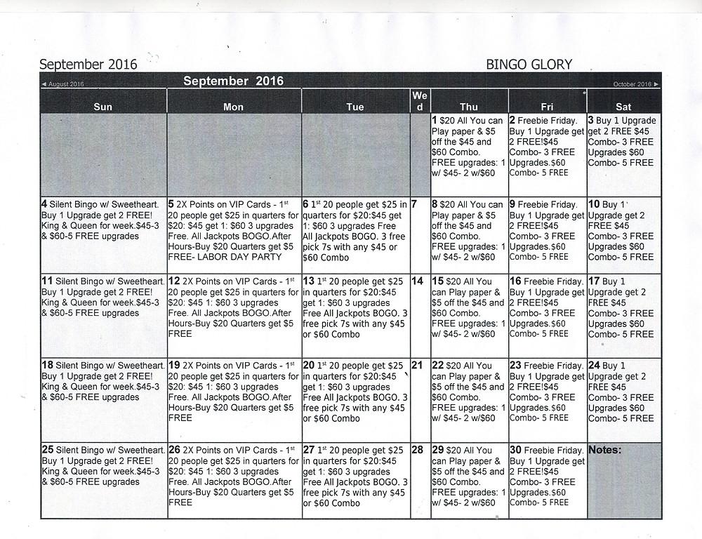 Bingo Glory Daytona Florida Calendar