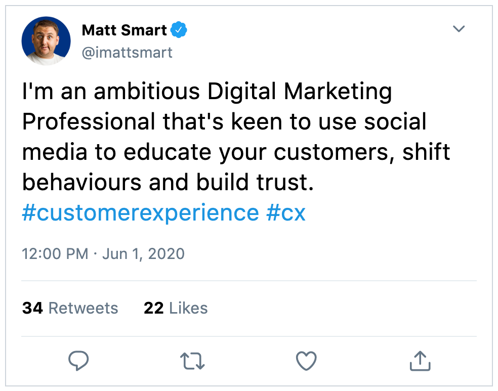 I'm an ambitious Digital Marketing Professional that's keen to use social media to educate your customers, shift behaviours and build trust. #customerexperience #cx
