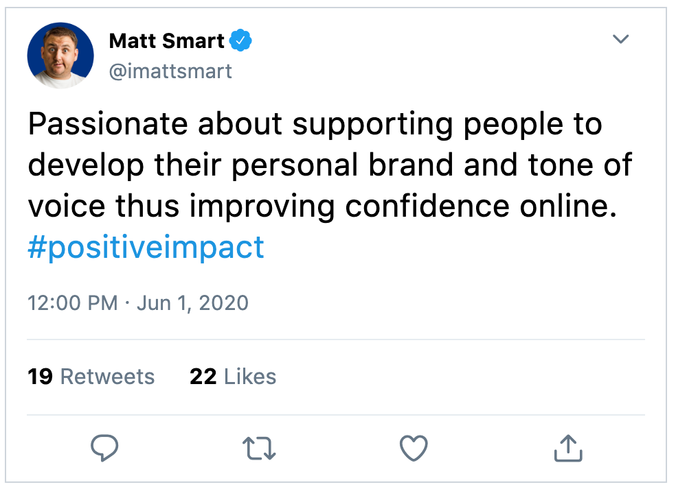 Passionate about supporting people to develop their personal brand and tone of voice thus improving confidence online. #positiveimpact
