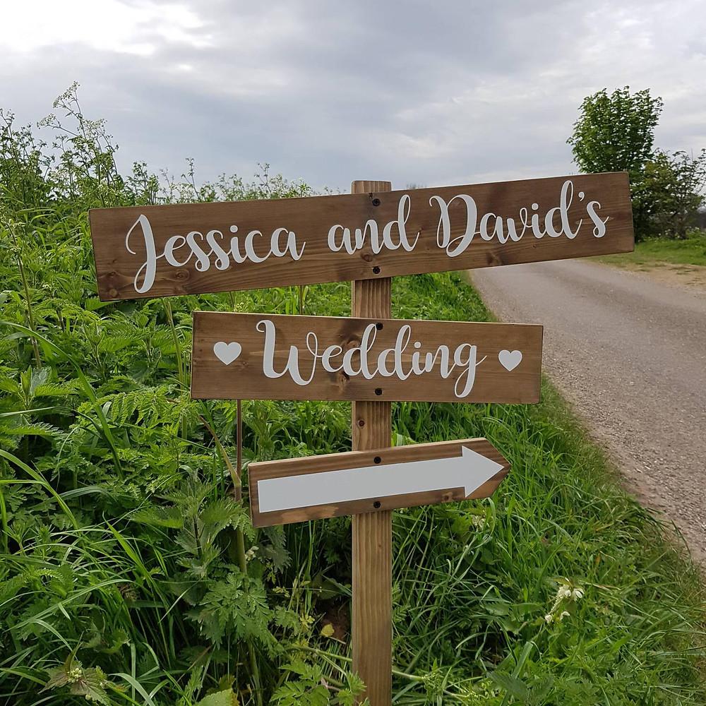 Personalised rustic wedding sign direction arrow wedding sign vintage wedding