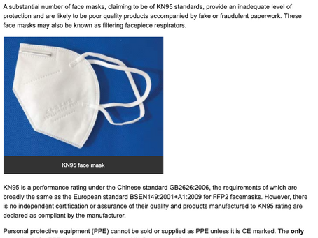 HSE Issues Warning about Face Masks