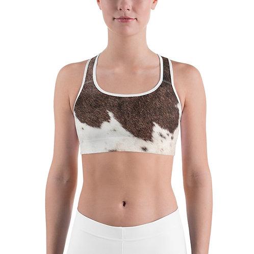 Cow Print Sports Bra