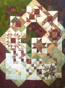 Nine square in a rumble quilt