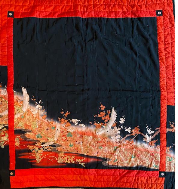 Japanese kimono lap quilt