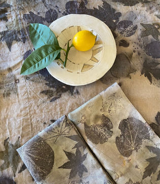 Ecoprinted napkins and tablecloth