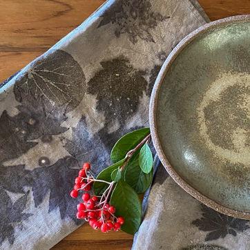 Ecoprinted napkin with dinnerware