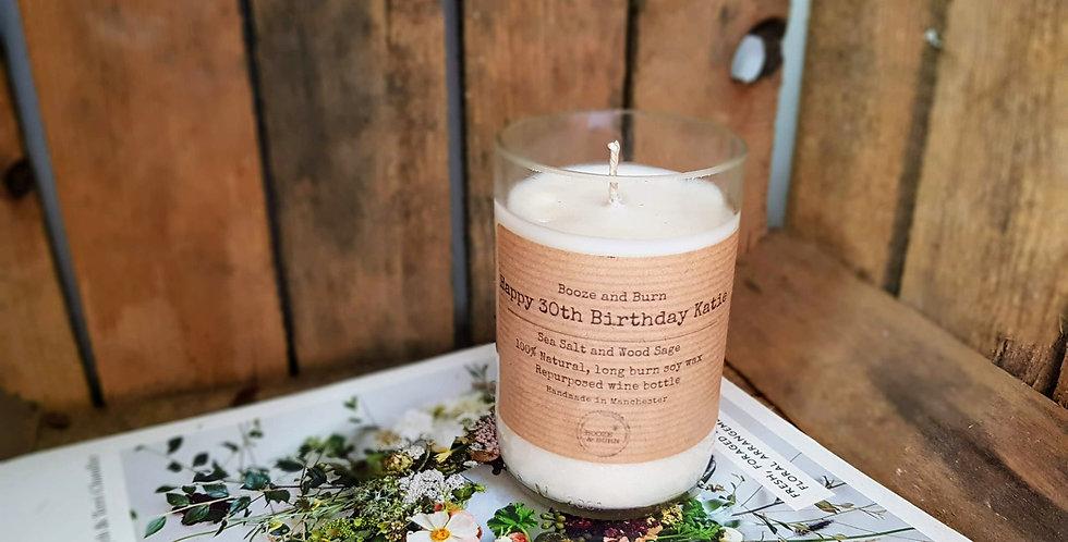 Birthday Gift - Personalised Wine Bottle Candle