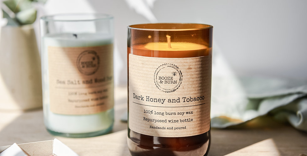 Dark Honey and Tobacco - Soy Wine Bottle Candle