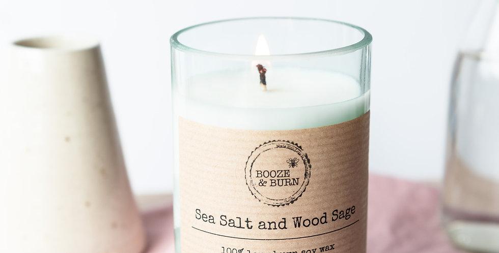 Sea Salt and Wood Sage - Soy Wine Bottle Candle