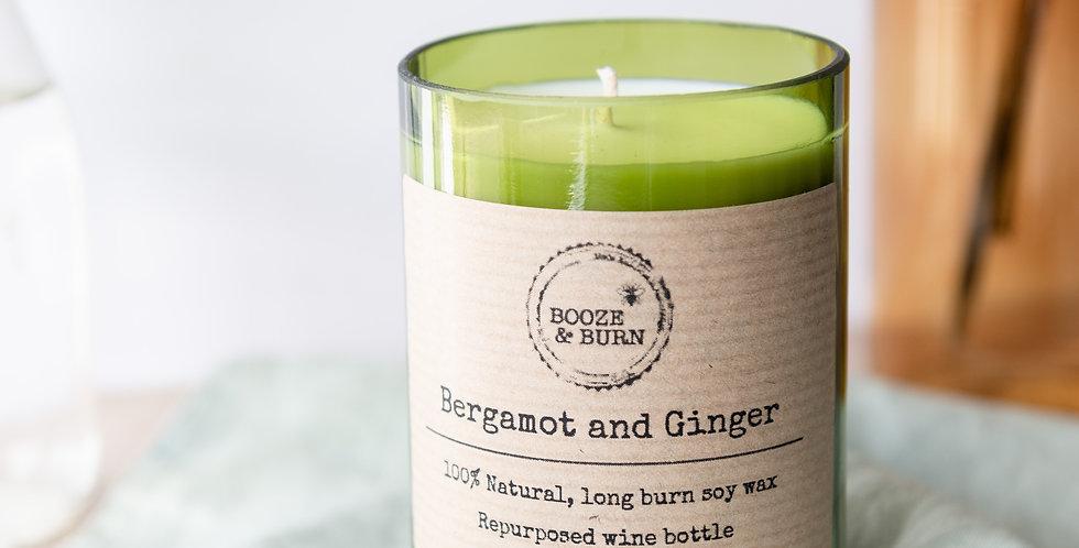 Bergamot and Ginger Wine Bottle Candle