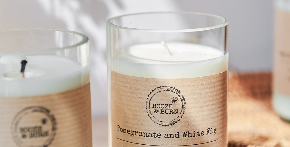 Pomegranate and White Fig - Soy Wine Bottle Candle
