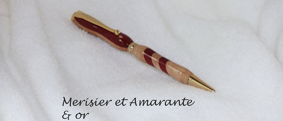Stylo-bille - Laminé - Merisier + Amarante & Or