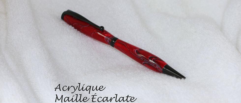 Stylo-bille - Acrylique - Maille écarlate & Chrome noir