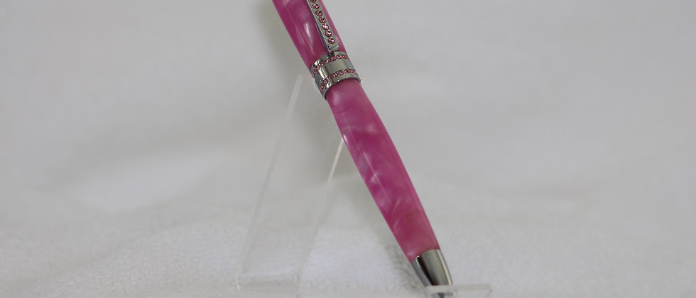 Stylo-bille - Acrylique  Hot pink  & Princess Chrome crystaux roses