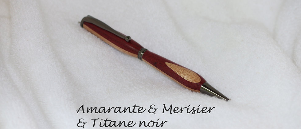 Stylo-bille - Laminé - Amarante + Merisier & Titane noir