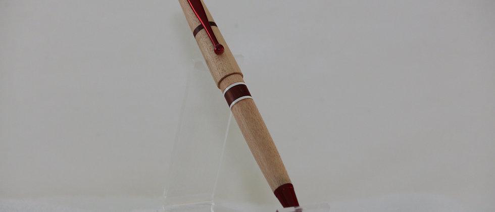 Stylo-bille - Laminé - Padouk + Érable  + plastique blanc  &   Rouge