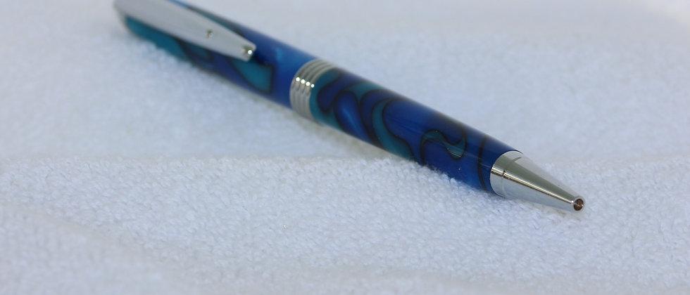 Stylo-bille - Acrylique - Vagues turquoises  & Chrome