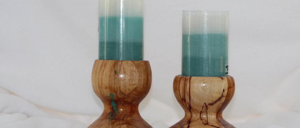 Chandelier - Bouleau coti + incrustation turquoise