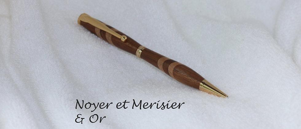 Stylo-bille - Laminé - Noyer noir + Merisier  & Or