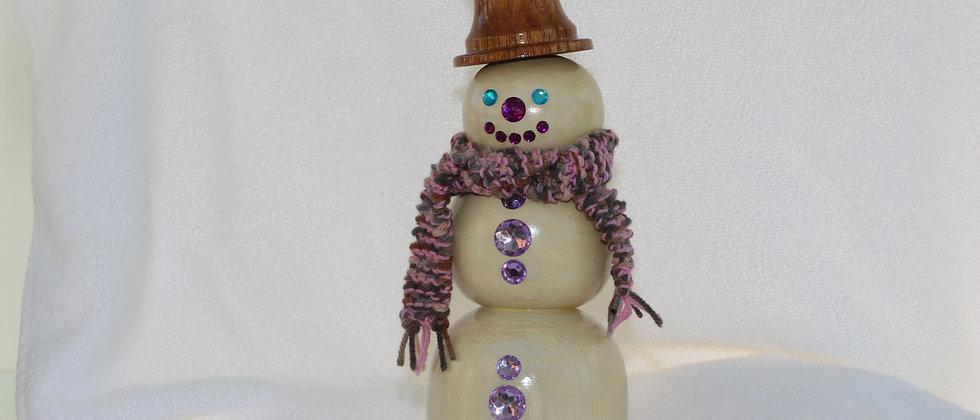 Bonhomme de neige - Cèdre blanchi + Parota - acc. rose,noir,turquoise