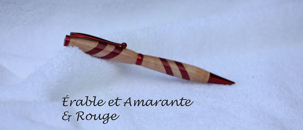 Stylo-bille - Laminé - Érable + Amarante & Rouge