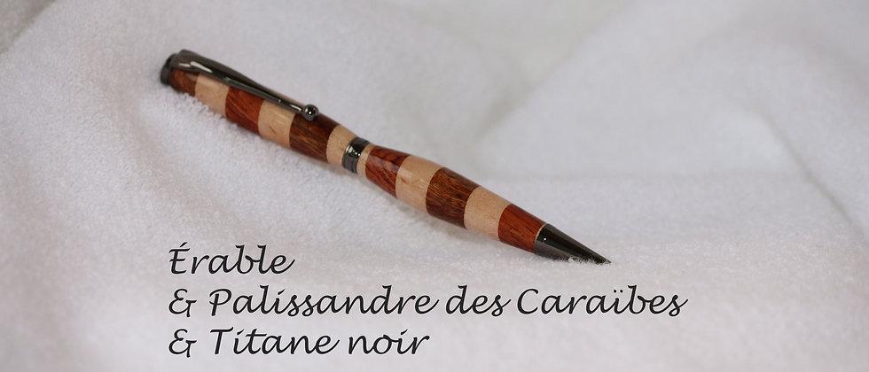 Stylo-bille - Laminé - Palissandre des Caraïbes + Érable & Titane noir