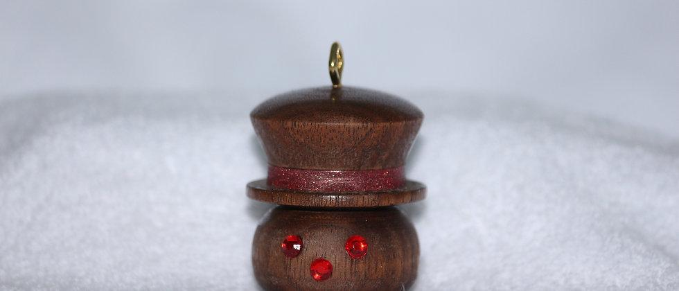 Décoration Noël - Noyer +  Chapeau avec ruban brillant rouge