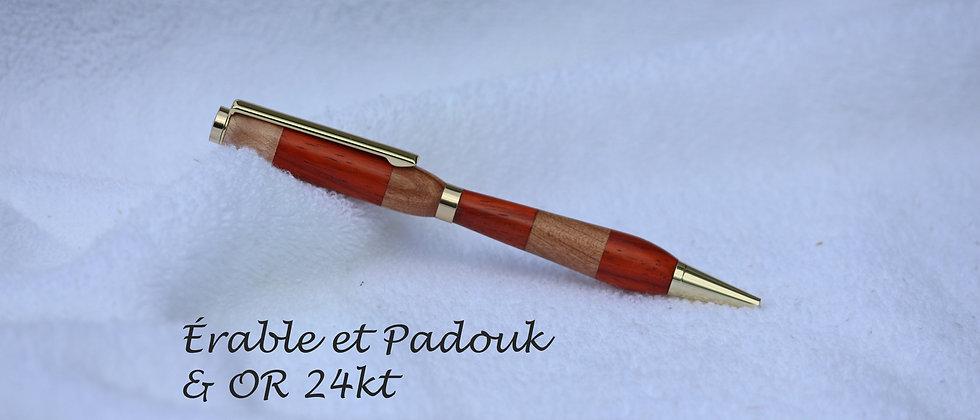 Stylo-bille - Laminé - Érable + Padouk & Or 24 kt