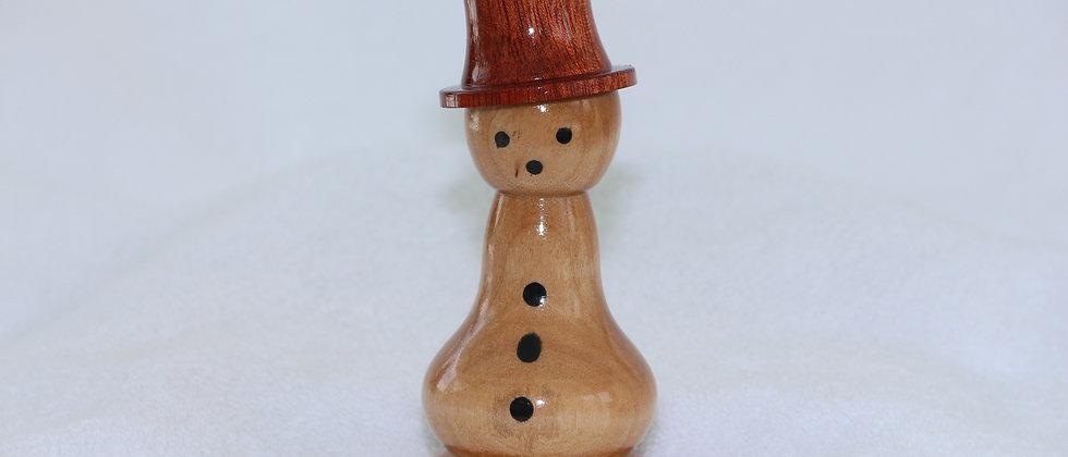 Bonhomme de neige - Merisier -chapeau Satiné Rubané
