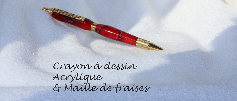 Crayon à dessin - Acrylique - Maille de fraises & Or 24kt