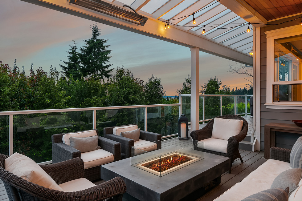 Covered deck with gas fireplace feature