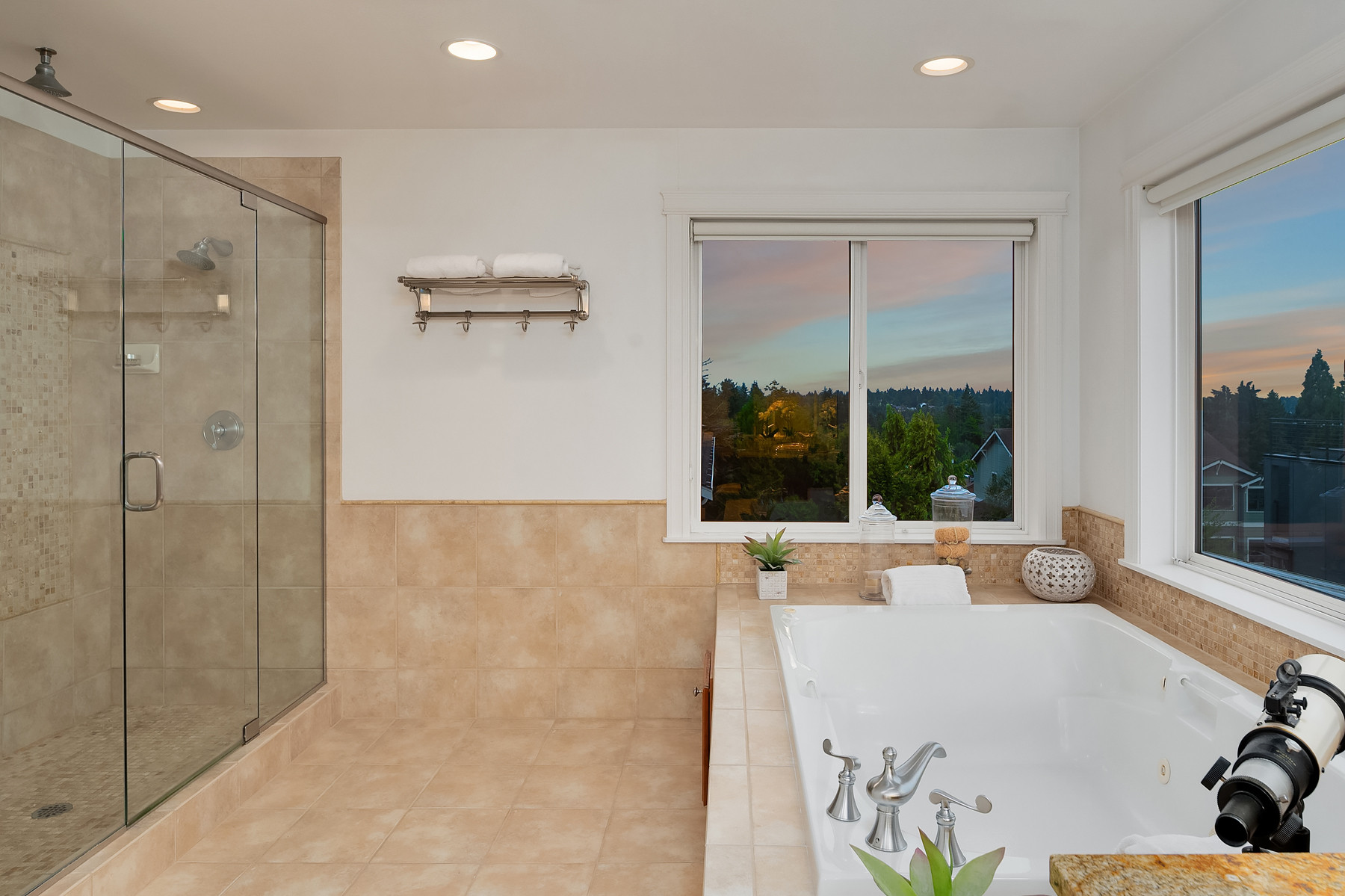Master bathroom with walk-in shower and jetted tub