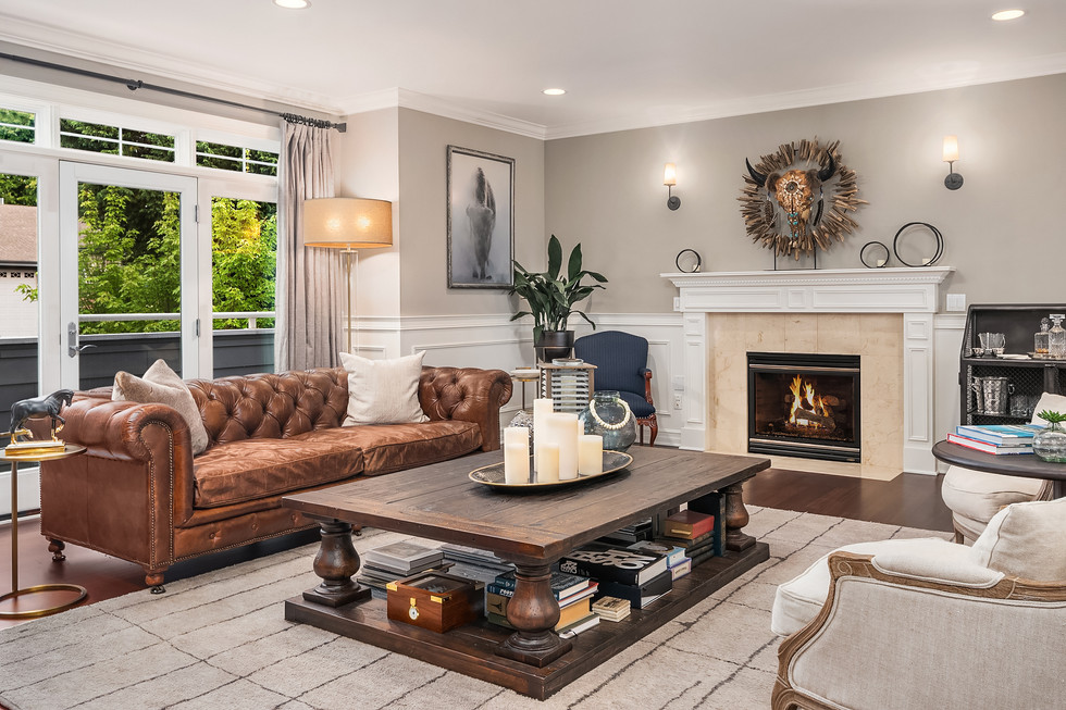 Formal living with gas fireplace