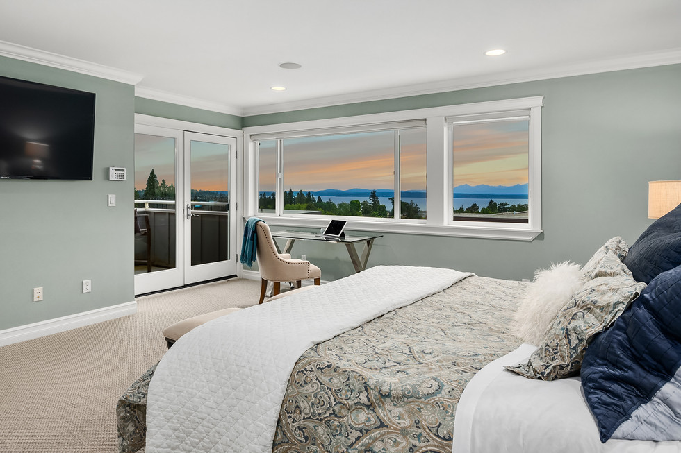 Master bedroom with west-facing views