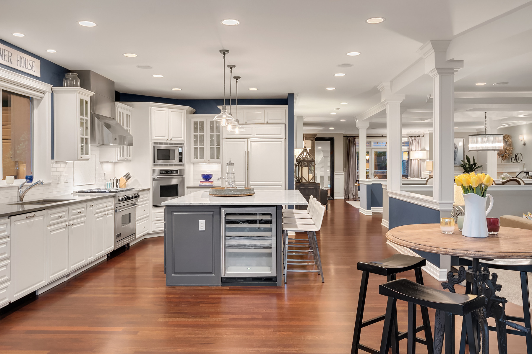 Kitchen and open living/dining