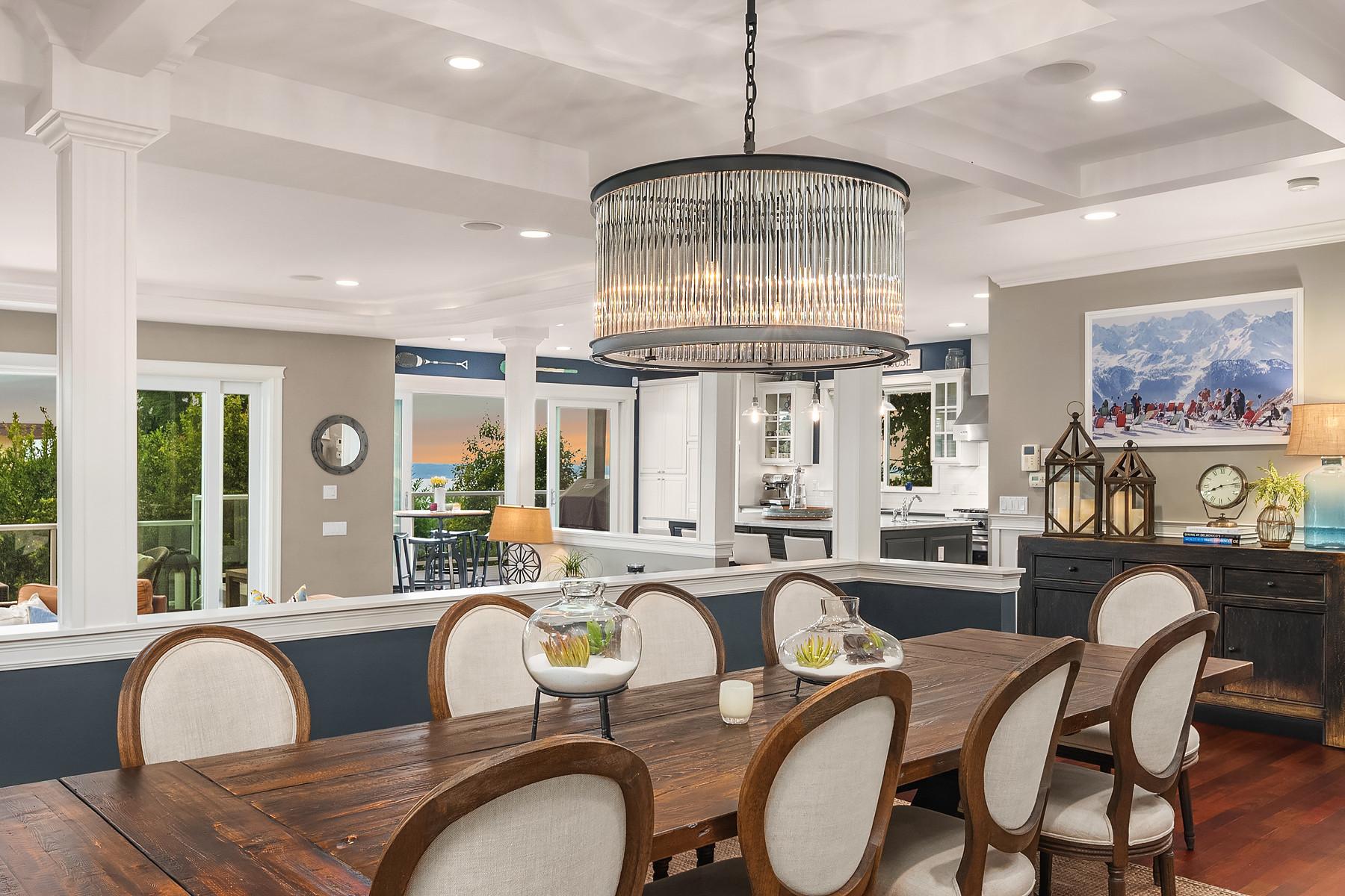 Formal dining room with designer chandelier