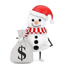 snowman-santa-claus-hat-character-mascot-with-tied-rustic-canvas-linen-money-sack-money-ba