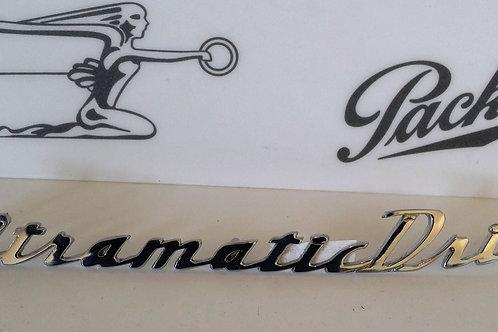 """1950 Packard Trunk """"Ultramatic Drive"""" Emblem"""