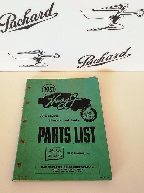 1951 Henry J Auto Parts List Manual