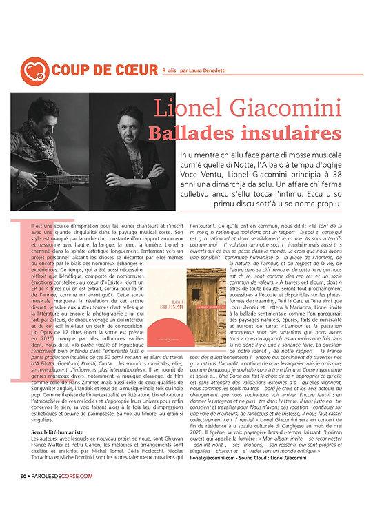 Paroles de Corse Lionel Giacomini