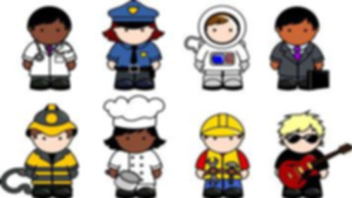 8 jobs shown - doctor, police officer, astronaut, business man, firefighter, chef, handyman and musican