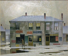 A.J. Casson - Winter's Sun Over Old Toronto, ca. 1960