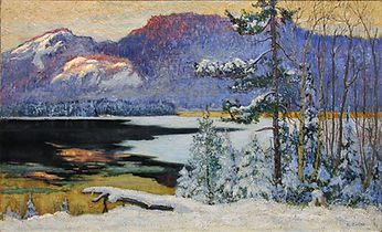 Maurice G. Cullen - Sunglow on the Palisades, Lac Tremblant, 1928