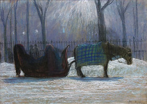 Maurice G. Cullen - The Red Sleigh, McGill Cab Stand, ca. 1910