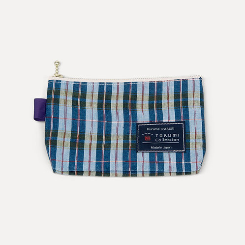 takumi collection hand-knitted pouch checkers