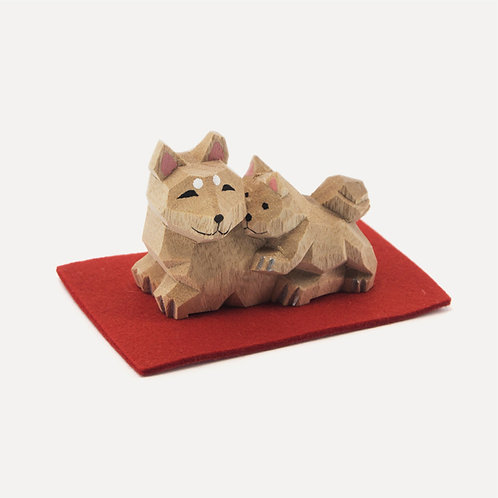 nakagawa masashichi one-cut wooden dog and puppy
