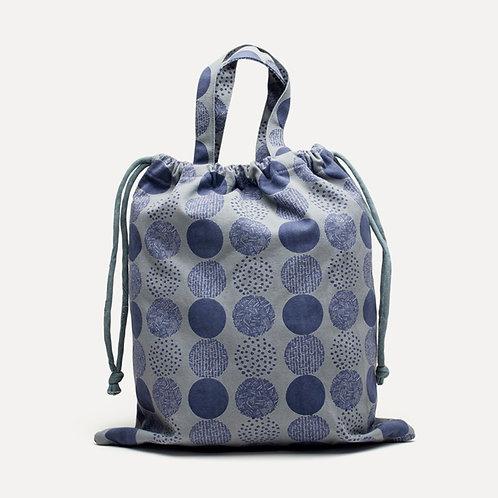 Horn Please Cotton Canvas Drawstring Bag (Blue)